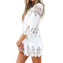 Load image into Gallery viewer, Women Swimsuit Lace Hollow Crochet Beach Bikini Cover Up 3/4 Sleeve White Tops Swimwear Beach Dress Tunic Shirt narzuta na plaza