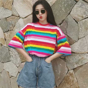 New T Shirt Women Rainbow Striped Tops Harajuku Tshirt 2019 Summer Short Sleeve Korean Punk T-shirt camiseta feminina
