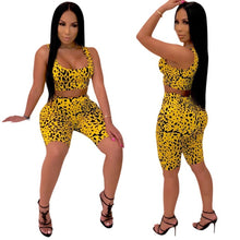 Load image into Gallery viewer, Adogirl Sexy Leopard Print 2 Piece Set Tank Tee Corp Top +Knee Length Pants Bodycon Suits Casual Tracksuit Outfits Plus Size XXL