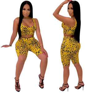 Adogirl Sexy Leopard Print 2 Piece Set Tank Tee Corp Top +Knee Length Pants Bodycon Suits Casual Tracksuit Outfits Plus Size XXL