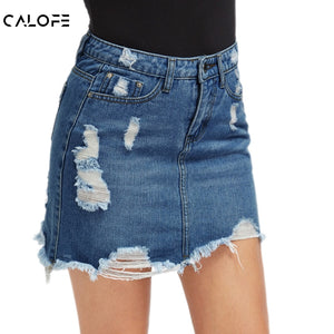 CALOFE Women Blue Ripped Casual Mini Denim Skirt 2019 Summer New Bodycon Women Skirt Basic Pocket Jeans Skirt Mid Waist Skirt