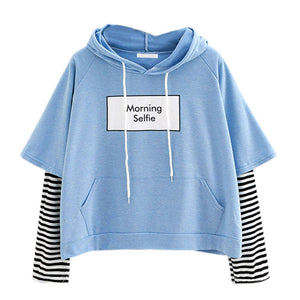 Hoodies Morning selfie moletom Women Striped Patchwork Hoodies Sweatshirts With Front Pocket crop top hoodie I28T Drop Shipping