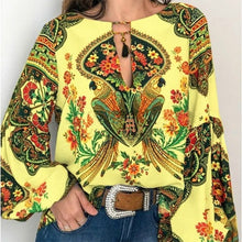 Load image into Gallery viewer, Women  Bohemian Clothing Plus Size Blouse Shirt Vintage Floral Print Tops Ladies s Blouses Casual Blusa Feminina Plus size