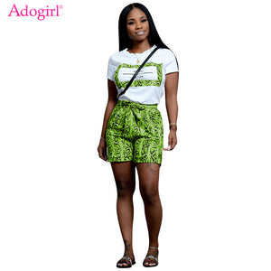 Adogirl Snakeskin Print Casual Two Piece Set Letters Print Short Sleeve Women T Shirt Top Bow Tie Waist Shorts Fashion Outfits