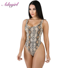 Load image into Gallery viewer, Sexy Snake Print Strapless Night Party Bodysuit Women Casual Off Shoulder Streetwear jumpsuit Office Lady Tops Female overalls