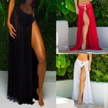 Load image into Gallery viewer, Women Summer 2019 Beach Split Dress Skirt Lace Sheer Solid Cover-up Beachwear Clothes Ankle Length Sexy Summer Wrap Skirts