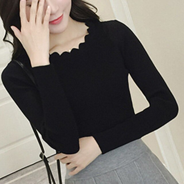 Women Sweater Pullovers Slim Thread Bottoming Lace Low O-Neck Solid Color Sleeve Long Sleeve Sweater Female Fashion Top