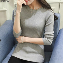 Load image into Gallery viewer, Women Sweater Pullovers Slim Thread Bottoming Lace Low O-Neck Solid Color Sleeve Long Sleeve Sweater Female Fashion Top