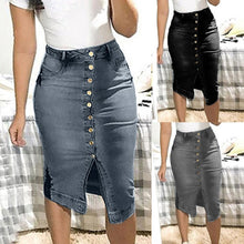 Load image into Gallery viewer, Denim skirt New Women's Fashion Denim Skirt Summer Button Design Split Front Open Skirts Casual large size jeans skirt Soft