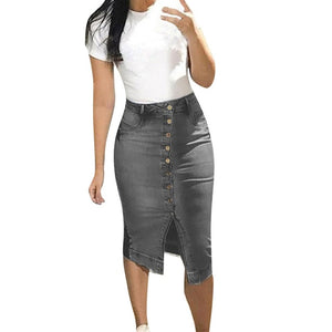 Denim skirt New Women's Fashion Denim Skirt Summer Button Design Split Front Open Skirts Casual large size jeans skirt Soft
