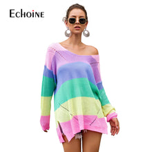 Load image into Gallery viewer, Casual Rainbow Striped Sweater Women V-Neck 2019 New Fall Winter Long Sleeve Knit Loose Pullovers Jumper Sexy Oversized Sweaters