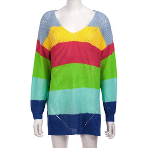 Casual Rainbow Striped Sweater Women V-Neck 2019 New Fall Winter Long Sleeve Knit Loose Pullovers Jumper Sexy Oversized Sweaters