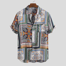 Load image into Gallery viewer, camisas Mens Shirt Summer Vintage Ethnic Printed Turn Down Collar Short Sleeve Shirt Tops Loose Casual Shirts Men Blouse 2019