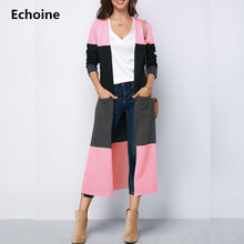 Load image into Gallery viewer, Echoine Autumn Spring Long Sleeve Cardigans Women Long Outwear Female Casual Loose Jacket Coat Clothes Striped Patchwork Outwear