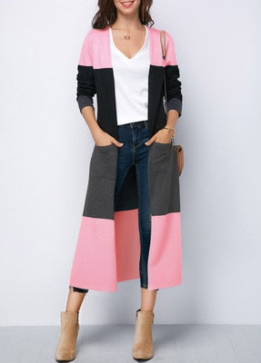 Echoine Autumn Spring Long Sleeve Cardigans Women Long Outwear Female Casual Loose Jacket Coat Clothes Striped Patchwork Outwear
