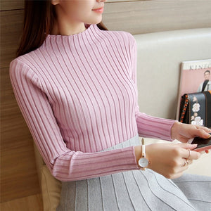 2019 New Autumn Winter Women Sweaters Fashion Turtleneck Pullovers Female Solid Ladies Knitted Sweater Slim Jumper Tops