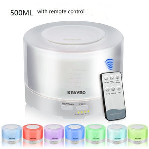 400 to 500ml Remote Control Ultrasonic Air Aroma Humidifier 7 Color LED Light Electric Aromatherapy Essential Oil Aroma Diffuser
