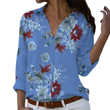 Load image into Gallery viewer, Women tops Plus Size Loose Print V-neck Long Sleeve Print Blouse Pullover Tops Shirt Blouse Women Summer Office Shirts Elegant