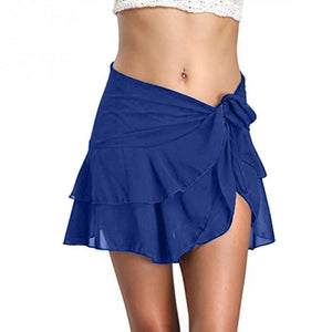 Women Skirt Sarong Summer Beach Fashion Bikini Ruffle Sexy Solid Short Holiday Wrap Cover Up Swimming