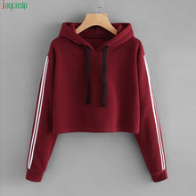 Load image into Gallery viewer, JAYCOSIN fashion cropped sweatshirt women Striped Long Sleeve Hoodie Sweatshirt Jumper Hooded Pullover Tops hoodies for women