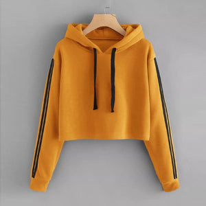 JAYCOSIN fashion cropped sweatshirt women Striped Long Sleeve Hoodie Sweatshirt Jumper Hooded Pullover Tops hoodies for women