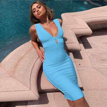 Load image into Gallery viewer, Ocstrade Summer 2019 Women Cut Out Bandage Dress Bodycon Sexy Double Deep v Neck Pink Bandage Dress Rayon Evening Party Dress
