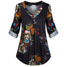 Load image into Gallery viewer, 5XL Plus Size Women Tunic Shirt 2019 Autumn Long Sleeve Floral Print V-neck Blouses And Tops With Button Big Size Women Clothing
