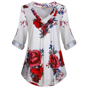 5XL Plus Size Women Tunic Shirt 2019 Autumn Long Sleeve Floral Print V-neck Blouses And Tops With Button Big Size Women Clothing