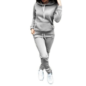 Women Hoodies Pant Clothing Set Casual 2 Piece Set Warm Clothes Solid Tracksuit Women Set Top Pants Ladies Suit