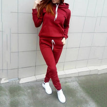Load image into Gallery viewer, Women Hoodies Pant Clothing Set Casual 2 Piece Set Warm Clothes Solid Tracksuit Women Set Top Pants Ladies Suit