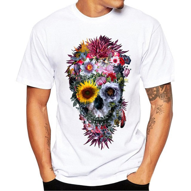 FREE OSTRICH Men's T-Shirt Fashion Floral Skull Design Short Sleeve Casual Tops Hipster Flower Skull Print T-Shirt Cool T-Shirts