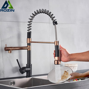 Black and Rose Golden Spring Pull Down Kitchen Sink Faucet  Hot & Cold Water Mixer Crane Tap with Dual Spout Deck Mounted