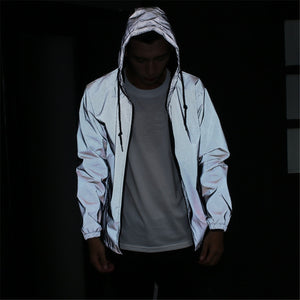 Reflective Jacket Men/women Harajuku Windbreaker Jackets Hooded Streetwear Coat Oversized White Harajuku Streetwear Clothes 2019