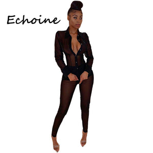 Echoine Sexy 2 Piece Set Women Sheer Mesh See ThroughTops Shirt+ Long Pants Clubwear Office Lady Summer Clothes For Women