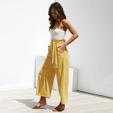 Load image into Gallery viewer, Casual Cotton Linen women high waist wide leg pants New summer fall office band loose palazzo trousers female flared harem pant