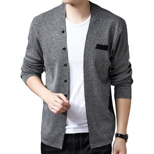 2019 Hot Sell Middle- Long length Mens Solid Sweater Cardigan Male Casual spring Autumn pure color cardigan sweater