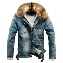 Load image into Gallery viewer, Jean Jacket With Fur Men's Autumn Winter Jacket Many Pockets Button Rinsing Flick Denim Hooded Top men's Denim Jacket Cotton