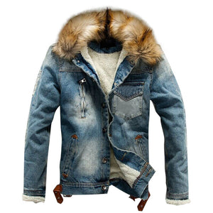 Jean Jacket With Fur Men's Autumn Winter Jacket Many Pockets Button Rinsing Flick Denim Hooded Top men's Denim Jacket Cotton