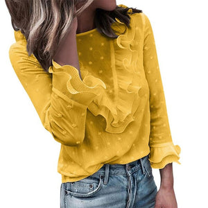 Women Ladies Casual Lace Polka Dot O Neck shirt Long Sleeve Tops Blouse Womens Clothing Top #K20