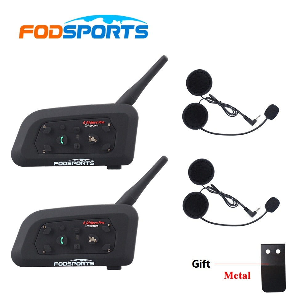 Fodsports 2pc V6 Pro Intercom Motorcycle Bluetooth Helmet Headset Intercom 6 Rider 1200M Waterproof BT Interphone