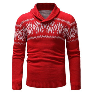 WENYUJH Mens Sweater Long Sleeve Slim Fit Knitted Pullover Casual Man V-Neck Christmas Pattern Autumn Winter Sweaters Hombre