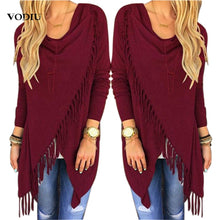 Load image into Gallery viewer, Korean Women's Autumn Cardigan Tassel Winter Fashion Irregular Jumper Solid Cotton Knitted Sweater Womens Clothing Plus Size 3XL