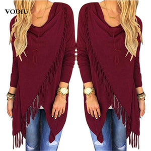 Korean Women's Autumn Cardigan Tassel Winter Fashion Irregular Jumper Solid Cotton Knitted Sweater Womens Clothing Plus Size 3XL