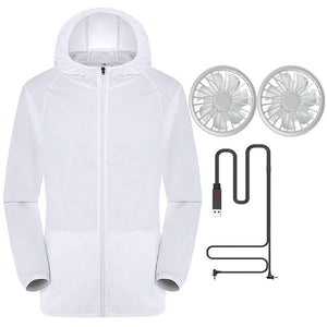 JAYCOSIN Summer Outdoor Air-Conditioned Clothes Women Men Cooling Jacket 2PC Fan UV Fishing Outdoor High Temperature Working 612