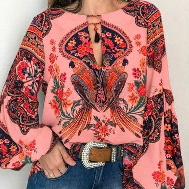 S-5XL Women  Bohemian Clothing Plus Size Blouse Shirt Vintage Floral Print Tops Ladies s Blouses Casual Blusa Feminina Plus size