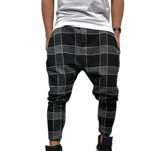 CYSINCOS Men Stylish Loose Plaid Pant Printed Casual Harem Pants Joggers Sporting Trousers Men Hip Hop Streetwear pantalon homme