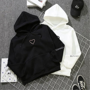 Womens Letter Heart Embroidery Sweatshirts Hoodie Autumn Long Sleeve Sweatshirt Hooded Pullover Tops Jumper sudadera mujer