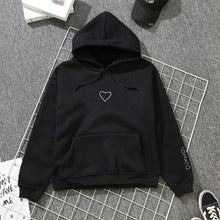 Load image into Gallery viewer, Womens Letter Heart Embroidery Sweatshirts Hoodie Autumn Long Sleeve Sweatshirt Hooded Pullover Tops Jumper sudadera mujer