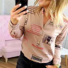 Load image into Gallery viewer, Women Plain Vogue Letters White Shirts Blouse Female Casual Long Sleeve V Neck Button Blouses Shirt Tops Femme 2019 #K20