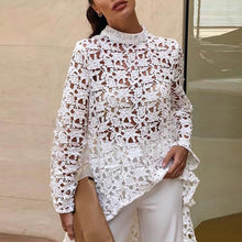 Load image into Gallery viewer, Women's Lace Hollow Out Shirt Long Sleeve Irregular Tops blouses woman 2019 Loose Solid Minimalism lablusa camiseta de mujer